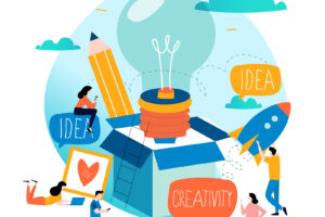 Idea, thinking outside the box, content development, brainstorming, creativity, project and research, creative soutions, learning,education flat design for mobile and web graphics vector